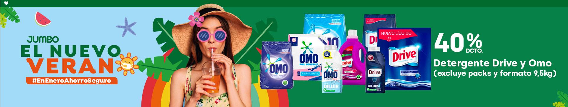 Detergente Drive y Omo (excluye packs y formato 9,5kg) 40% dcto